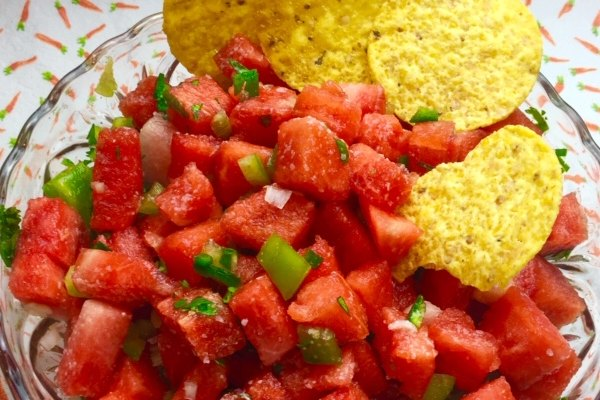 atermelon salsa with tortilla chips