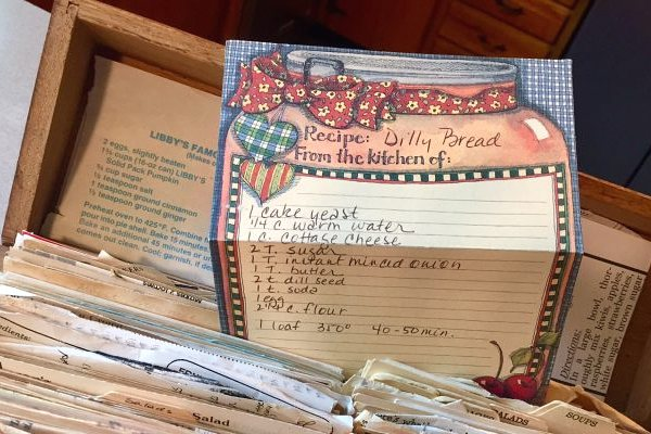 old recipe card in box
