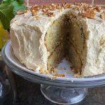 banana cake, slice removed