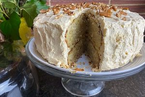 banana cake, slice removed