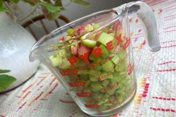 cup full of diced rhubarb