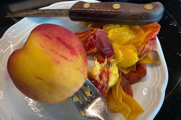 peeling the peach