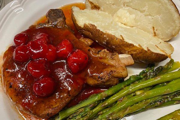 pork chops with cherry bourbon sauce