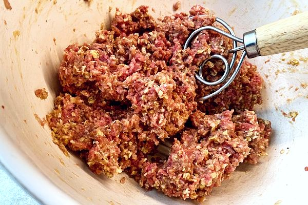 mixing the meatloaf