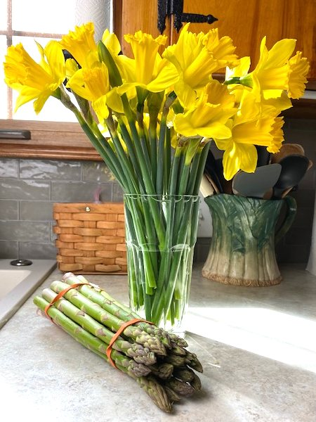 daffodils and asparagus